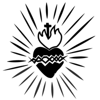 Drawing of the Sacred Heart of Jesus, with a cross and flames at the top, a crown of thorns on the middle, and light radiating all around it